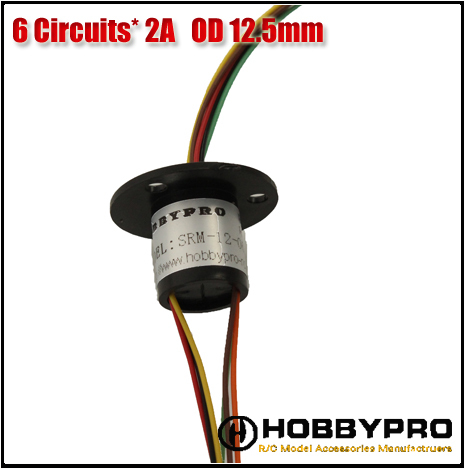 Slip Ring 6 Wires 2A 240V 250Rpm diameter 12.5mm, 6 Conductors Capsule slipring,Micro Collector ring(China (Mainland))