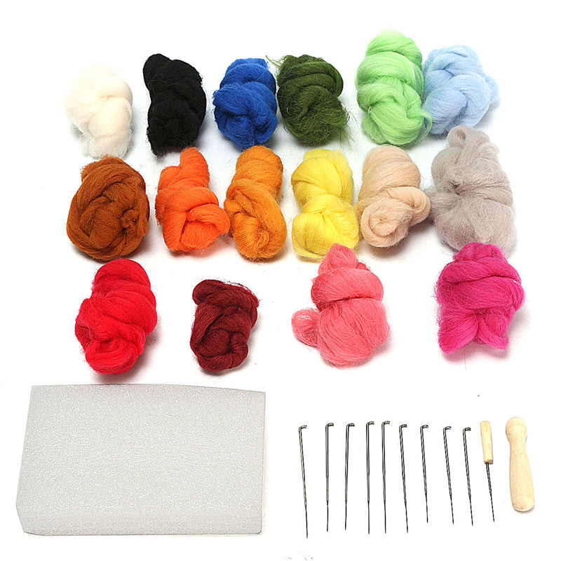 16 Color Wool Felt Needles Tool Set + Needle Felting Mat Starter Excellent tool for DIY Craft Home Sewing Set(China (Mainland))