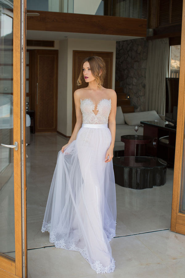 2015 custom made summer sexy beach wedding dress for Lace overlay top for wedding dress