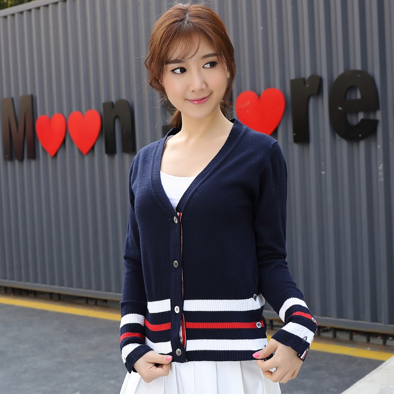 2017 Women Solid Color Stripes Cardigans Cashmere Women's Pacthwork Button V-neck Knitted Cardigan Sweater 3 White Brand(China (Mainland))