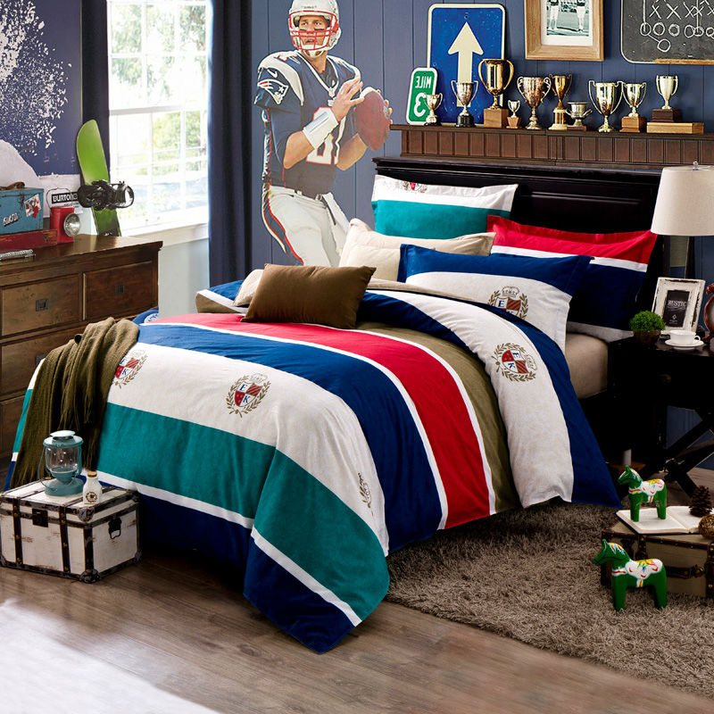 movement trend sport style 100% cotton dark green deep blue red brown stripes bedding set Queen Double size duvet cover set(China (Mainland))
