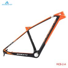"Buy T700 Carbon mtb frame 27.5er UD Matte 14.5"" Mountain Bike Frame BB92 Disc Brake Orange Black for $358.00 in AliExpress store"
