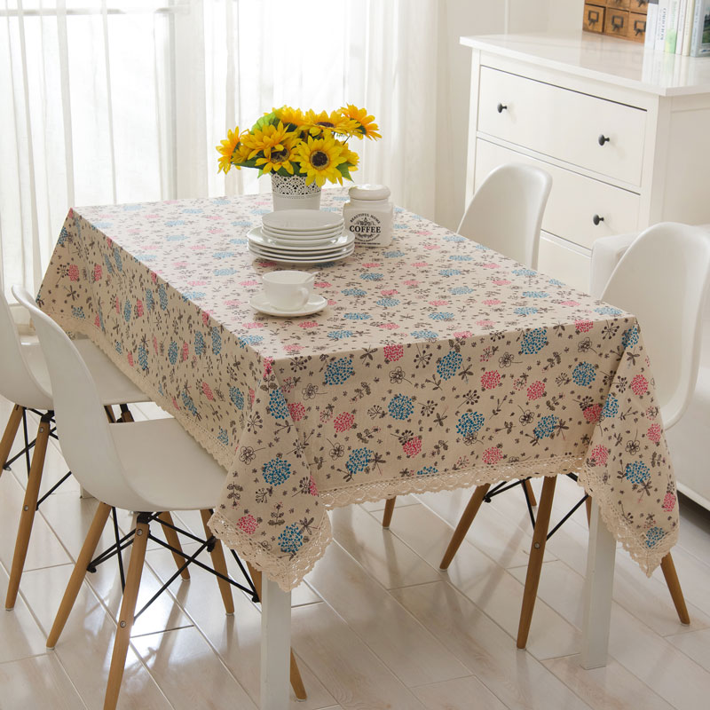 free shipping Linen tablecloths Pink, blue hydrangea cotton lace table cloth tablecloths drape TV cabinet(China (Mainland))