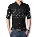 New Men Linen Shirts Short Sleeves 2016 Fashion Slim Men Cotton Shirts Printed Plus Size 6XL