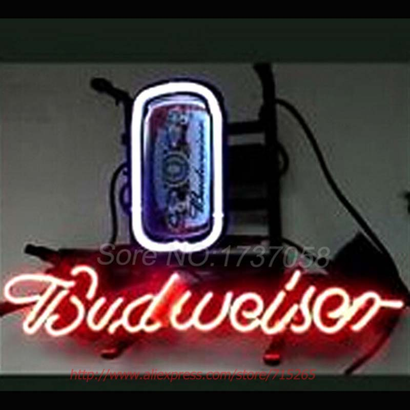 Neon Signs Budweiser BEER LAMP Neon Bulbs Decorated Handcrafted Neon Publicidad Outdoor a Frame Sign Arcade neon sign VD 17x14(China (Mainland))
