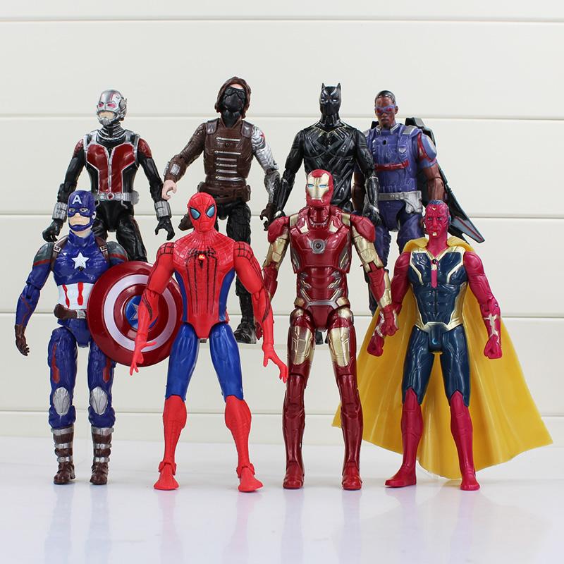 High quality 8pcs/lot 17cm Super Hero Action Figure Toy Doll Hawkeye Captain America Thor Batman Spider Man Batman Toy Figure(China (Mainland))