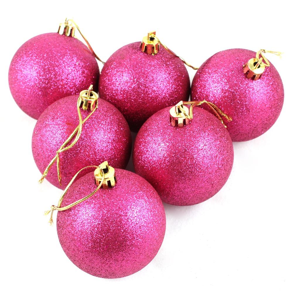 6 cm rosa caldo lucido palle di natale decorazione dell'albero di natale della bagattella 6 pz(China (Mainland))