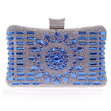 New 2015 glass diamond silver evening bags top quality gold clutch bag elegant blue bag party wedding bridal purse w641(China (Mainland))
