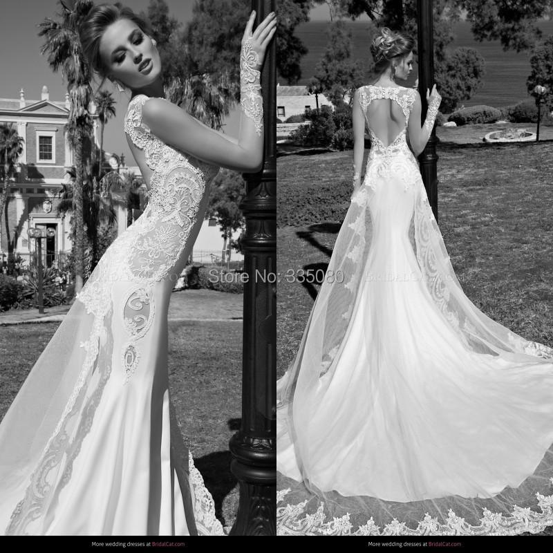 Mermaid Wedding Dress With Detachable Train : Custom mermaid wedding dress stunning sexy v neck