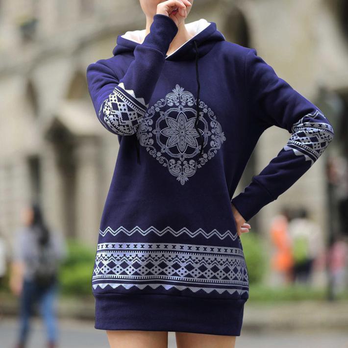 Гаджет  Plus Size S-XXXXL Fleece 2015 New Women Pullovers Hoodies Printed Thick Warm Long With Hooded National Wind Sweatshirts 0868  None Одежда и аксессуары
