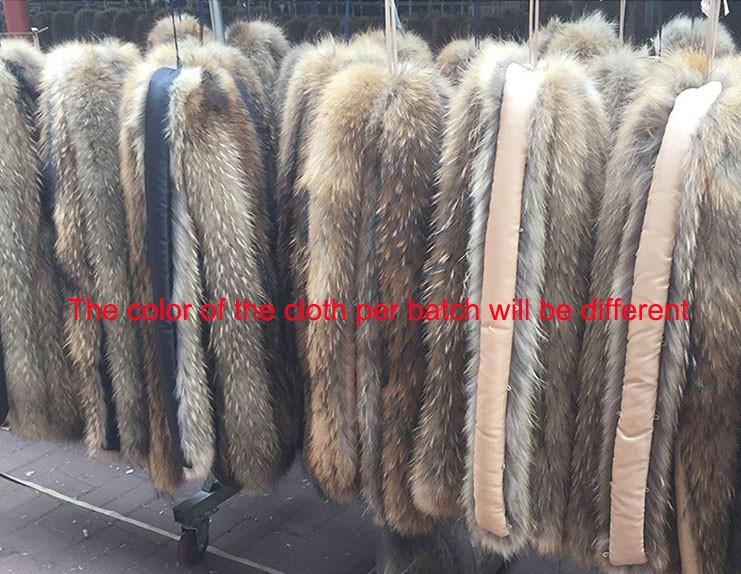 100% Natural Raccoon Fur Collar Scarf Women Real Fur Collar Winter Warm Fluffy Fur Collar Scarves Long 80cm Width 13cm