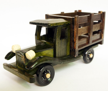 Car model toys fence truck memorial wood craft art collection decoration