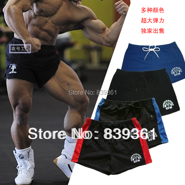 Men's gym shorts with Gold & powerhouse, fitness & bodybuilding & workout sports,100% cotton,high quality,multi colors shorts(China (Mainland))