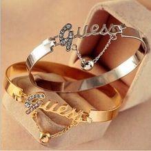 New Fashion Women Ladies Charm Letter Crystal Rhinestone Bracelet Bangle Chain(China (Mainland))