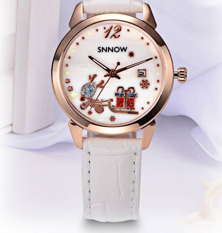 2016 CASIMA SNNOW серии часов женщины симпатичные свободного покроя платье кварцевые часы леди кожаный ремешок наручные часы рождественские подарки # 6604