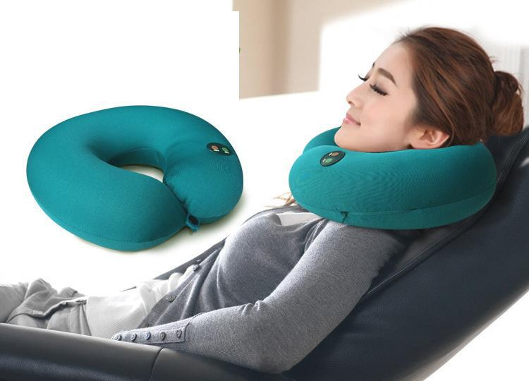 6Speed Adjustable Lycra Electric Massage U Shape Health Care Nap Pillow for Travel Rest neck massage body massager Free Shipping(China (Mainland))
