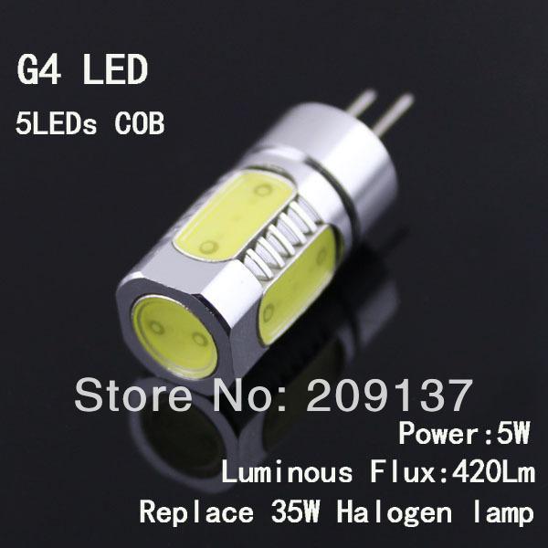 G4 LED 12V High Power 5W G4 LED Lamp Replace 35W halogen lamp 360 Beam Angle LED Bulb lamp white or warm white(China (Mainland))