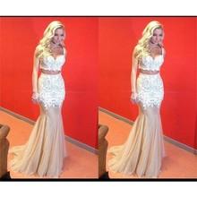 Two Pieces Mermaid Spaghetti Straps Prom Dresses Formal Woman Long Lace Gowns vestidos de formatura galajurken ballkleider - Instock Dress store