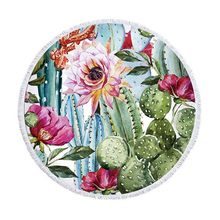 Beach Bath Blanket Cactus Plants Printed Round Beach Towel Mat with Tassel HFing(China)