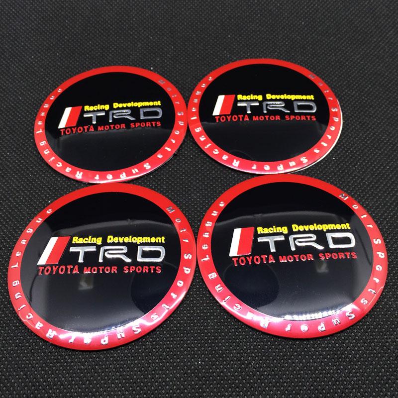 4 x 60MM TRD sticker Car Wheel Emblem Hub Cap Logo Auto Wheel Center TRD Toyota Racing Development Emblem(China (Mainland))