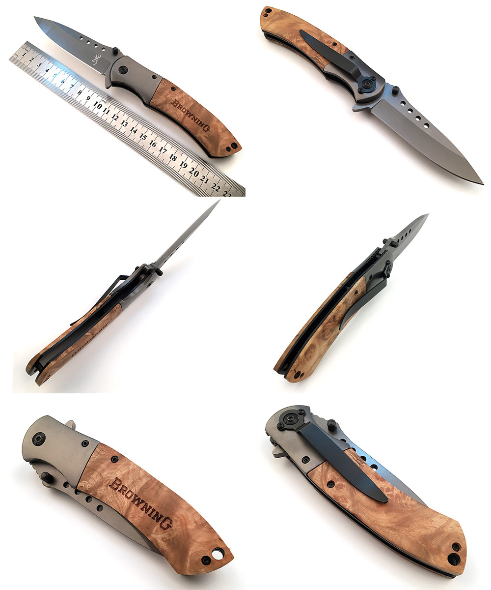 Buy Tactical Brand Folding Knife Pocket Hunting Camping Utility Portable Knife Survival Combat Rescue Multi Tool Steel + Wood Handle cheap