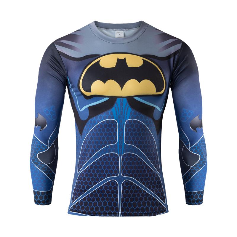 Men Sport Long Sleeve Compression 3D T Shirt Marvel Superhero Superman Captain America Tights Gym Fitness