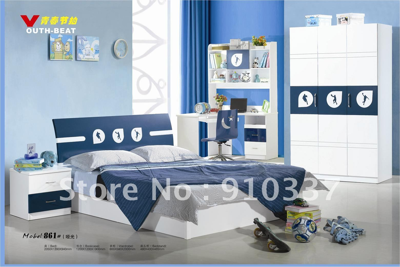 pcs new full size bedroom set mdf panels kids furniture bookcase bed