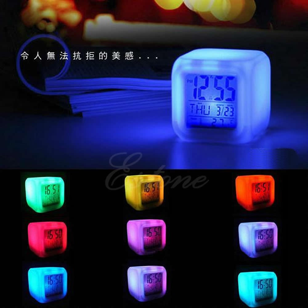 W110 New Hot Glowing LED 7 Color Changing Digital Alarm Thermometer Calendar Clock(China (Mainland))