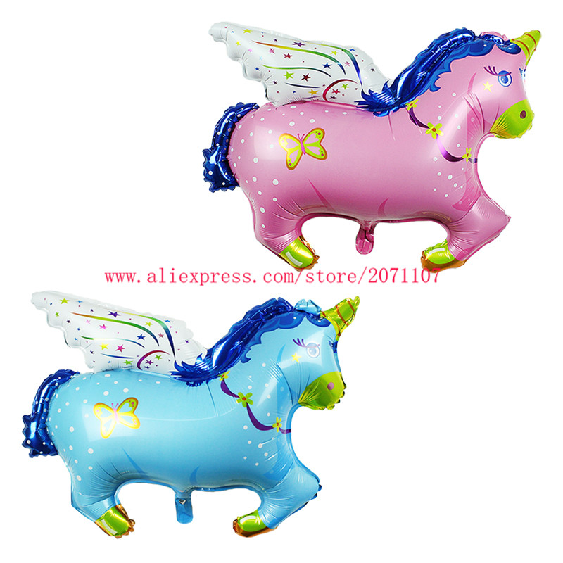 Lucky 50pcs/lot Boy/Girls Baby Fly Horse Balloon Baby Shower Foil Air Balloons For Baby Birthday Party Decoration Globos Toys(China (Mainland))