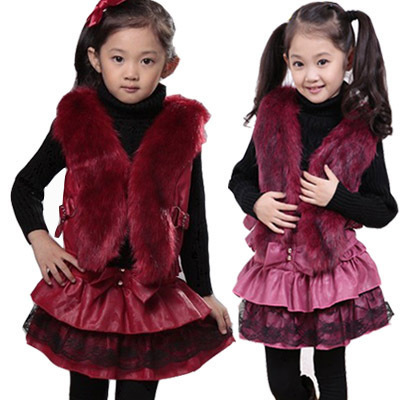 2014 new Fashion winter baby girls leather red vest skirt 2-Piece clothes sets casual Princess dress kids clothes girls Rs789(China (Mainland))