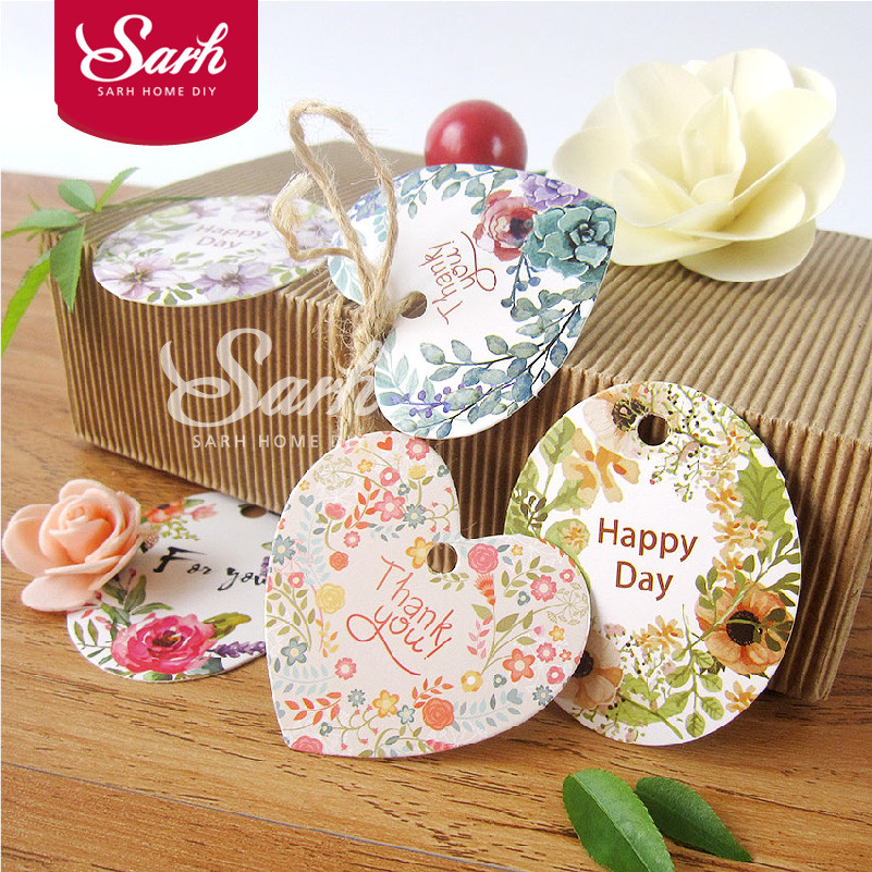 50pcs/lot Gift Packing Watercolor Countryside Flower Cake Tag Card Cake Decoration for Wedding Birthday Party Cute Lovely Gifts(China (Mainland))