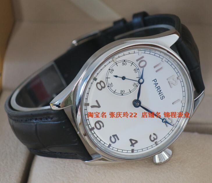44 ММ PARNIS ST3600/6497 Механическая Рука Ветер гусь шеи движение механические часы мужские часы белый циферблат оптовая