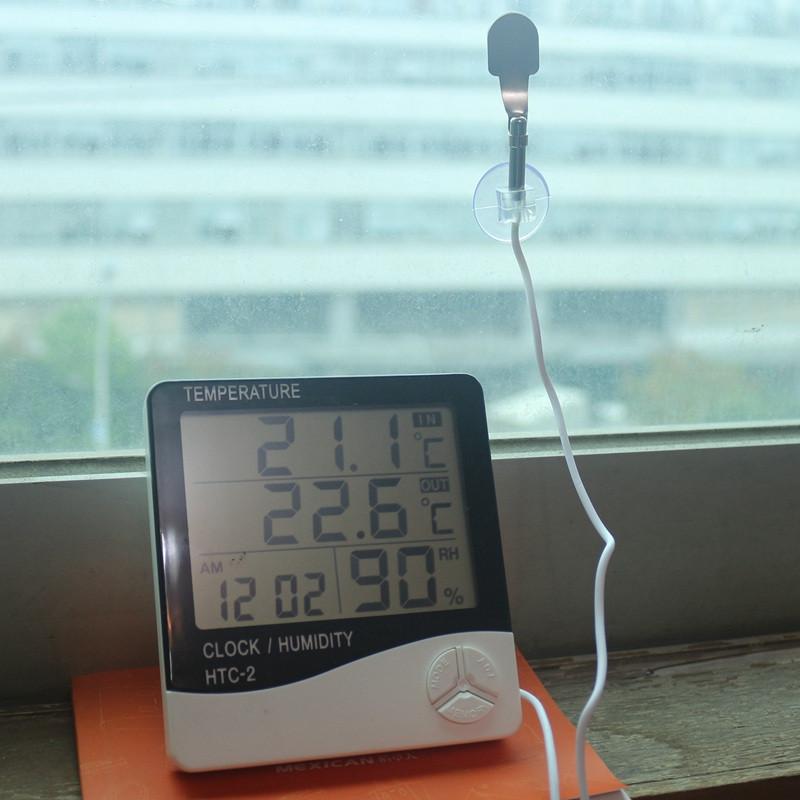 דיגיטלי LCD טמפרטורה מד טמפרטורה מד לחות שעון + 1m חיצוני בדיקה,משק בית פנימי וחיצוני בשימוש משלוח חינם