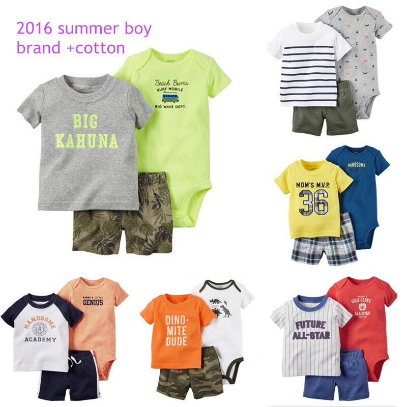 2016 Summer casual style Retail baby Clothing Sets,baby boys jumpsuit+short +t shirt 3pcs/suit children infantil clothes