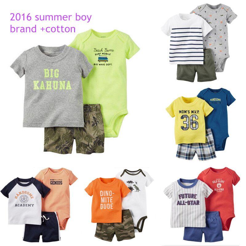 2016 Summer casual style Retail baby Clothing Sets,baby boys jumpsuit+short +t shirt 3pcs/suit children infantil clothes