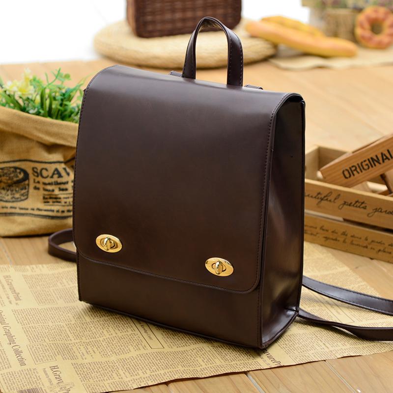 Vintage Japan simple backpack female college campus Korean high school students Pu wind backpack<br><br>Aliexpress