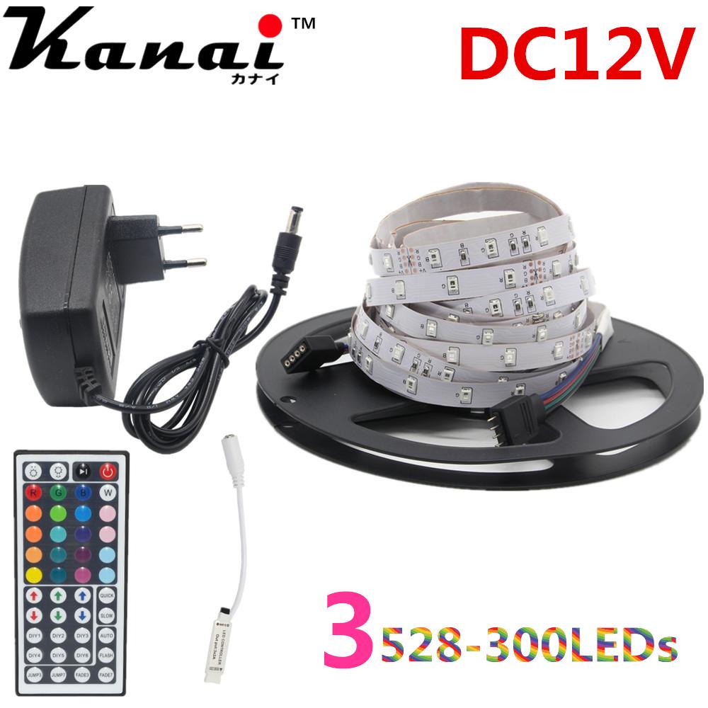 Kanai 5M RGB led Strip tape 3528 SMD 300led Flexible non- Waterproof 44key Remote 12V 2A Transformer Christmas Lights(China (Mainland))