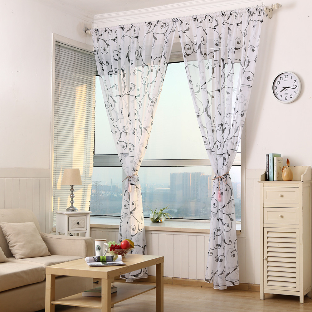 Cafe curtains for living room - Demongirl Roman Style Translucidus Curtains Pastoral Flower Printed Tulle For Livingroom Voile Fabric Pannel Balcony Screening