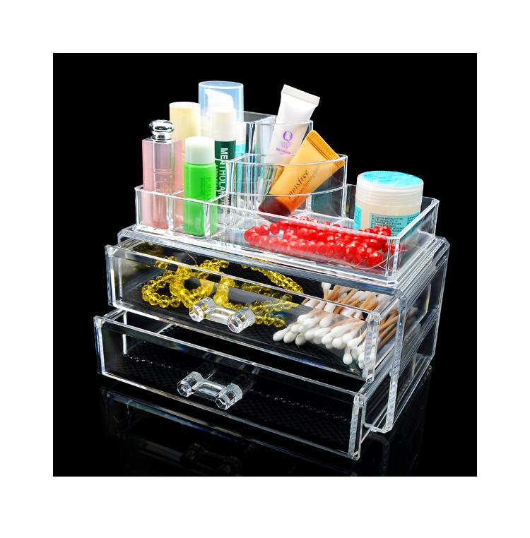 Large 2 Drawers Holder Jewelry Chest Makeup Acrylic Case Cosmetic Organizer Set Good Quality EQC368(China (Mainland))