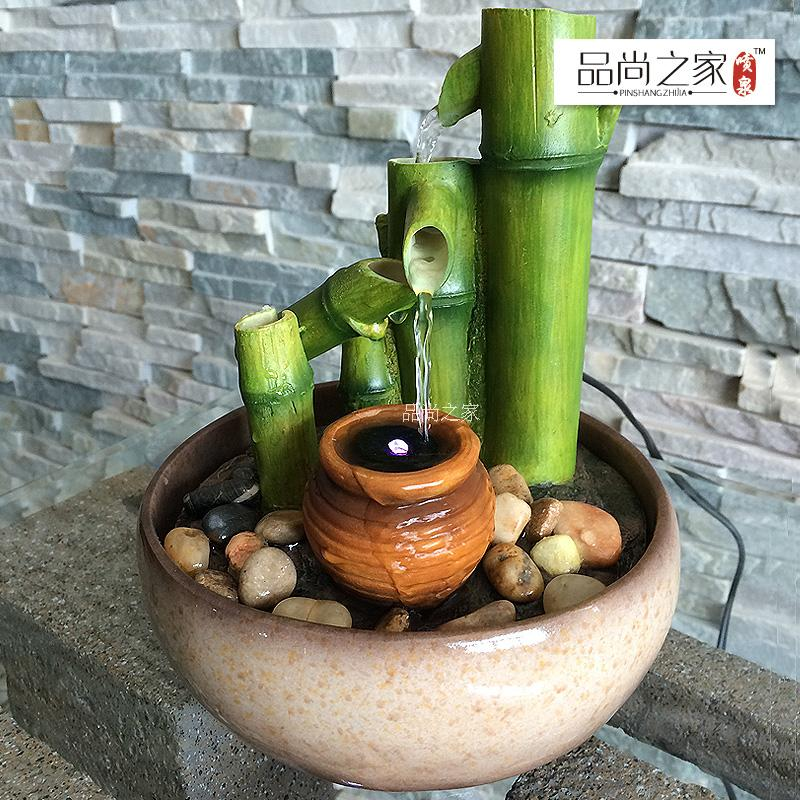 Free SHipping Bamboo water fountain decoration humidifier lucky decoration opening gifts(China (Mainland))