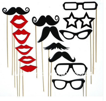 15pcs Photo Booth Props Hat Mustache On A Stick Wedding Birthday party fun favor Free shipping