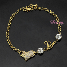 Womens Ladies 22K Yellow Solid Gold Filled Bracelet Bangles Link Zircon Crystal Heart Swan Rolo Chain Adjustable(China (Mainland))