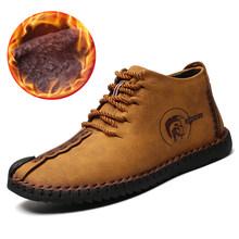 Schoenen Mannen Houden Warme Winter Mannen Laarzen Handgemaakte Lederen Mocassin Casual Mannen Schoenen Met Pluche Fahsion Laarzen Big Size 40 ~ 48(China)