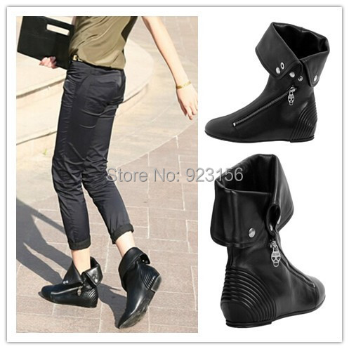 Free shipping 2014 girls fashion black skull fashion zip flat ankle boots plus size women comfortable out door leisure boots(China (Mainland))