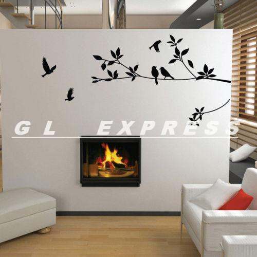 Dropshipping Tree and Bird Wall Stickers Vinyl Art Decals(China (Mainland))
