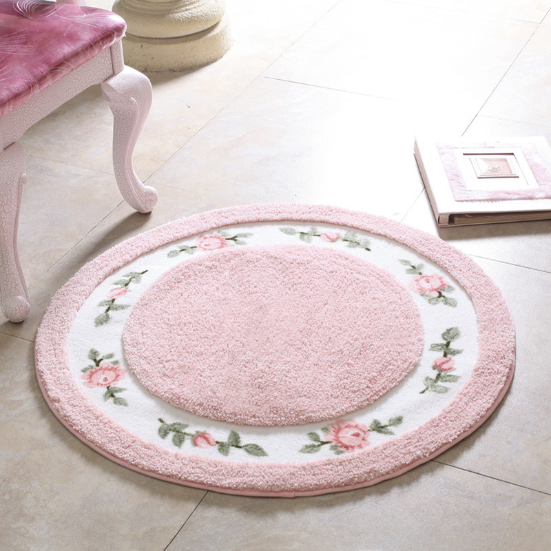 Princess Pastoral Style Round Carpet Diameter 70/90cm Parlor Rug Living Room Carpet Bedroom Chair Mats Bathroom Mat High Quality(China (Mainland))