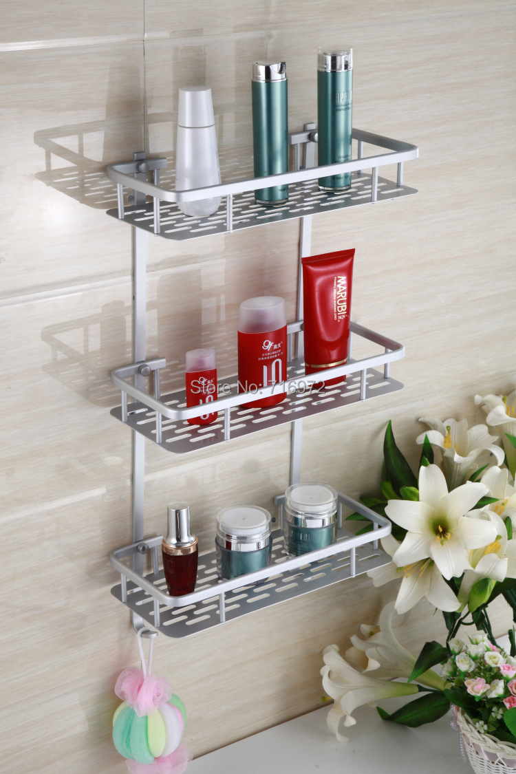 New Arrical Free Shipping Wall Mounted Three Layers Bathroom Shelves Shelf In Bathroom