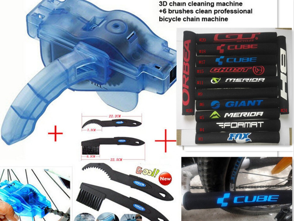 4pc/Lot GT Bicycle Parts Bike Chain Cleaner+Cycling Clean Brushes+Clean Brush+Chain Protector bicycle chain tool kit for chain(China (Mainland))