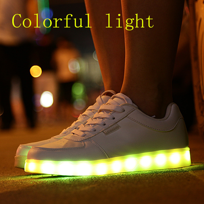 trend casual shoes skateboarding classic led lighting neon luminous lovers usb charge light