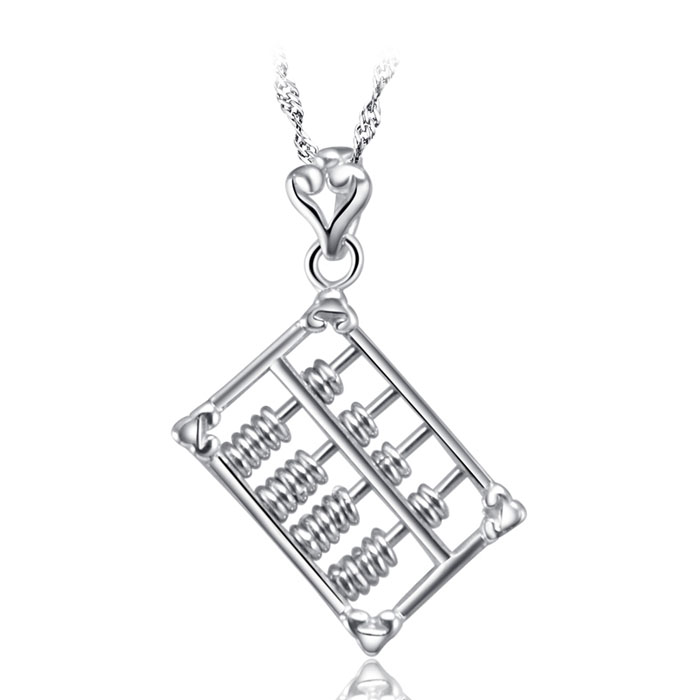 Selling Jewelry 925 sterling silver Abacus Pendant Necklaces Silver Stone pendant For Party Gifts (Free Chain)A1115-3(China (Mainland))